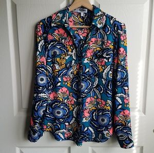 Express Teal Floral The Portofino Shirt Size Small